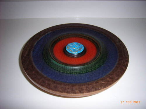 Coloured Platter : Spalted Beech : 10 1/2 inches diameter : Ref 587