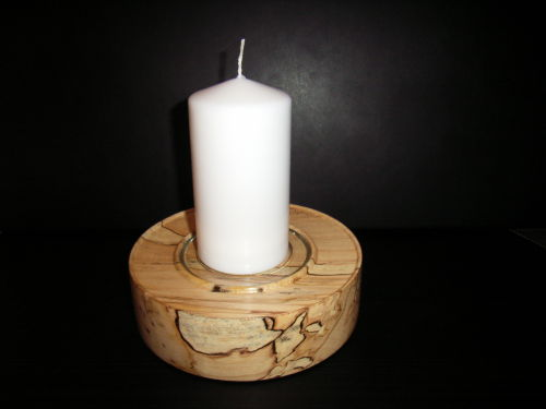 Candlestick Centrepiece : Spalted Sycamore : Ref: 364