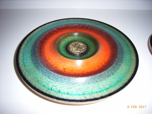 Coloured platter : Beech :11 inch diameter : Ref 586