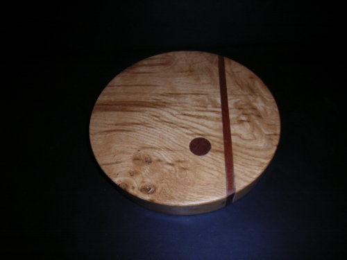 Cutting Board in Olive Ash with Mahogany inserts : 8 inch diameter : Ref 509