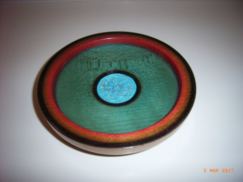 Coloured Platter : Beech : 8 inches diameter : Ref 592