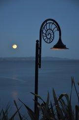 Lyme Regis under a Golden Moon