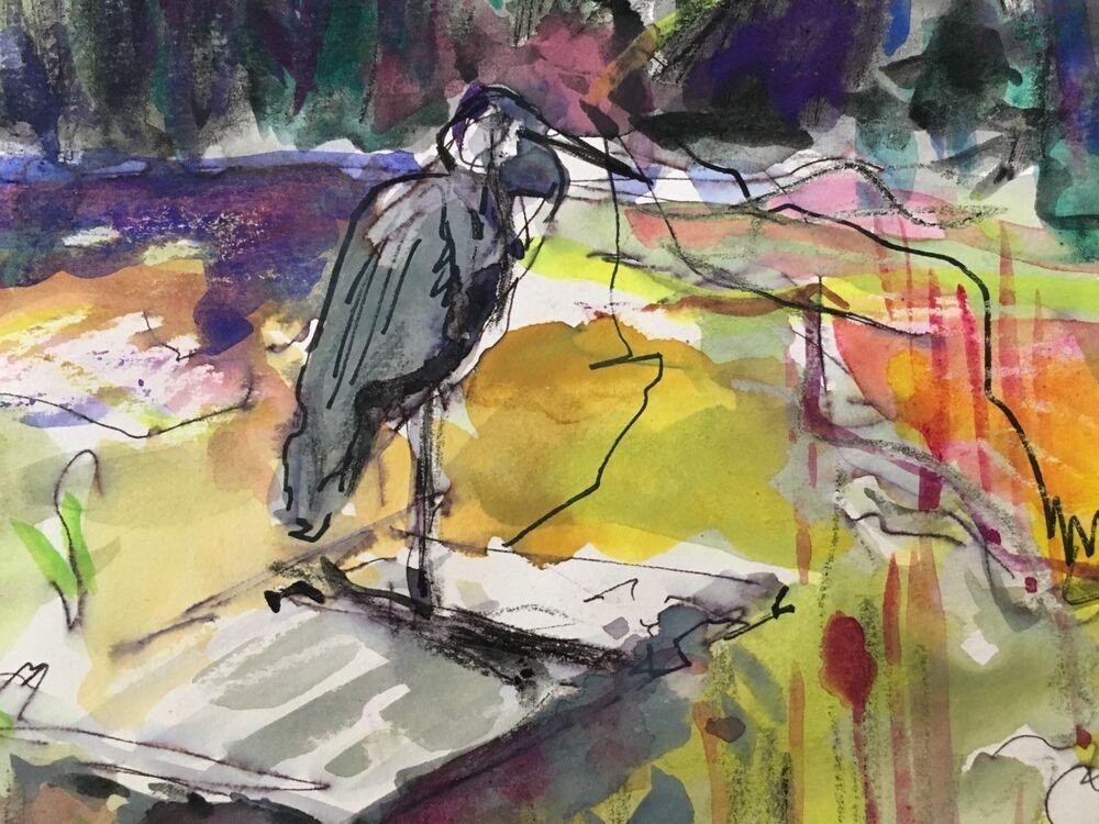 Heron on Friern Barnet Pond (Yellow)