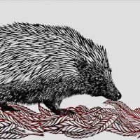 Hedgehog on Willow Leaves, Multi block, Limited Edition of 20, w.29.5 x h.1.5cm (Unmounted)
