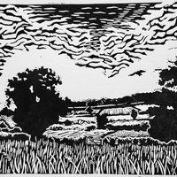 'Kite over Cornbury', limited edition of 50, w.9.5 x h.8.5cm