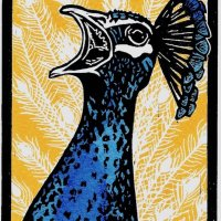 Percy Peacock III, Multi block limited edition print, hand finished with artists grade ink, w.9.1 x h.12.7cm