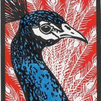 'Percy Peacock I', Multi block, edition of 20, hand finished with artists grade ink, w.9.1 x h.12.7 cm