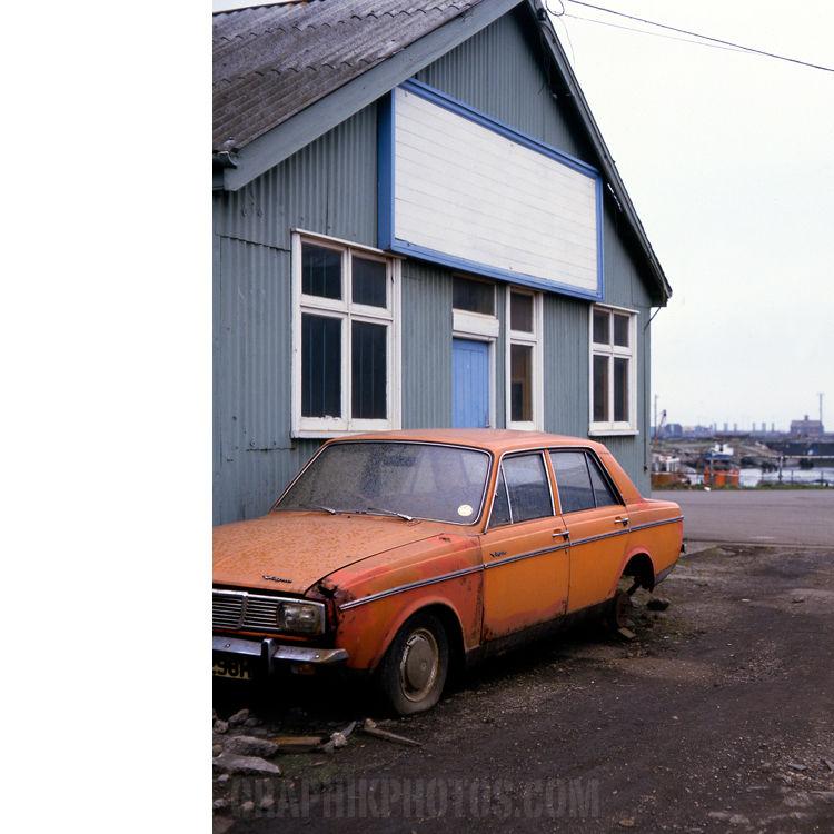 Orange car, Grimsby docks