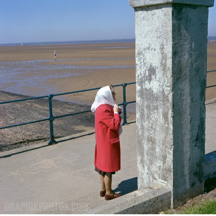 Woman with scarf, Cleethorpes, UK