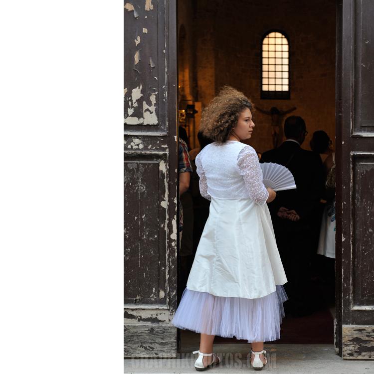 Girl in church doorway, Bari, Italy