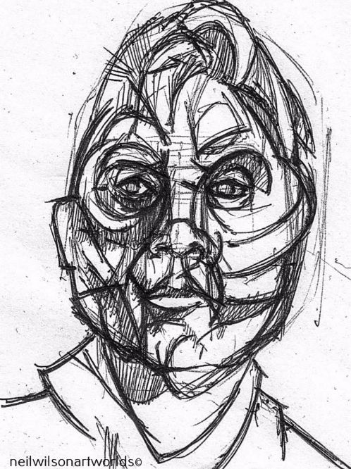 Portrait, (After Bacon), 2013.  (Inks).  210mm x 297mm.