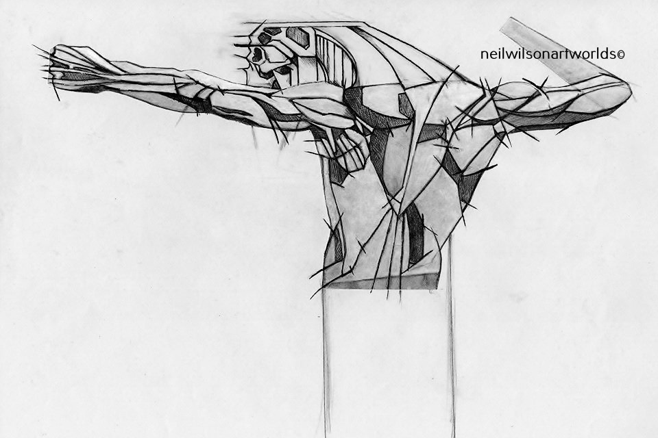 Figure Study 1, 2014. (Pencils/ inks/ anatomical reference). 210mm x 297mm.