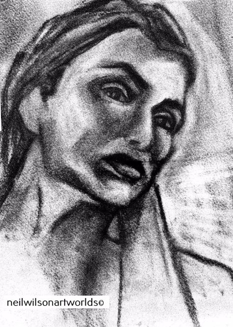Study of Female Face, 2012. (Charcoal).  210mm x 297mm.