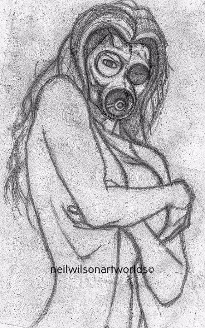 Masked Female 2, 2013. (Pencils).  210mm x 297mm.