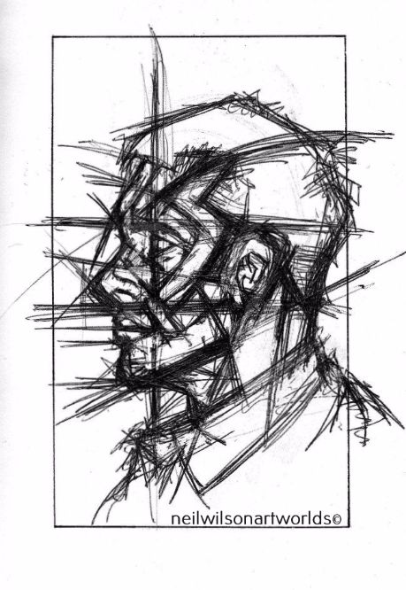 Study of Male Face 1, 2012.  (Inks). 148mm x 210mm.