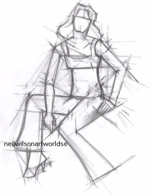 Drawing of Female Figure 6, 2012. (Pencils).  200mm x 200mm.