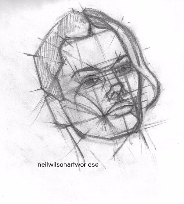 Drawing of Female Face 2, 2012. (Pencils).  200mm x 200mm.