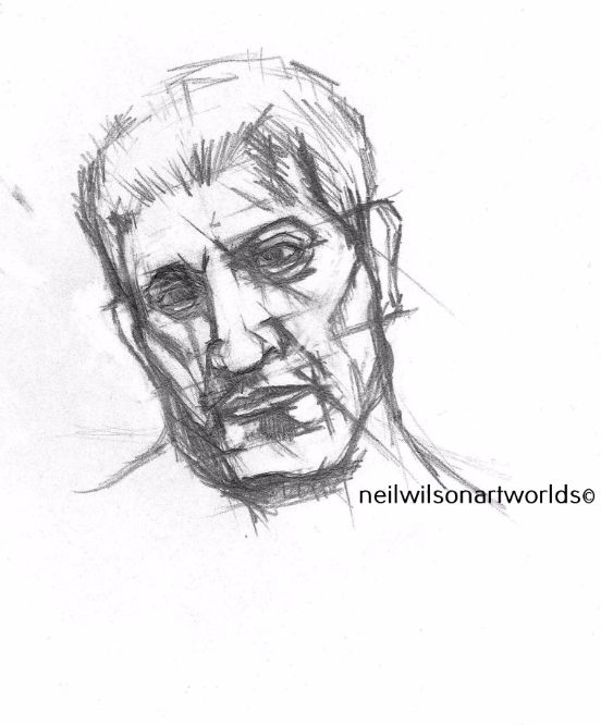 Drawing of Male Head 5, 2012. (Pencils).  200mm x 200mm.