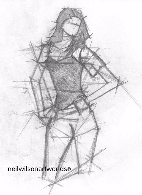Drawing of Female Figure 7, 2012. (Pencils).  200mm x 200mm.