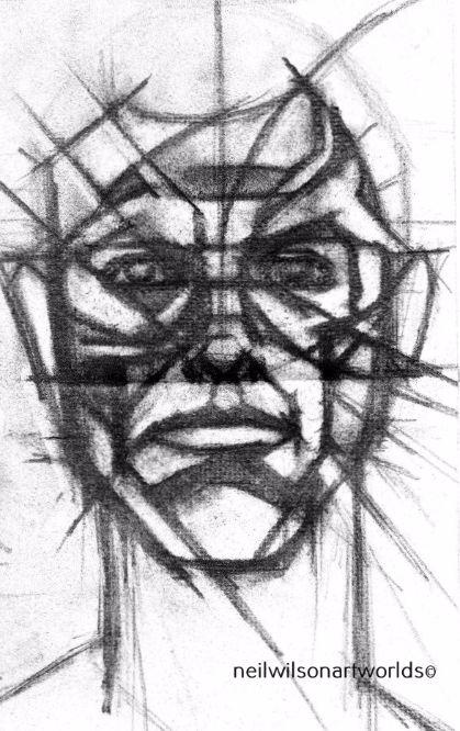 Study of Male Head 2, 2012. (Charcoal).  210mm x 297mm.