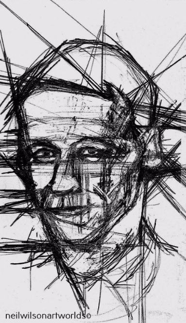 Study of Male Face 2, 2012. (Inks).  148mm x 210mm.