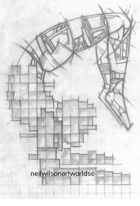Balance Construct 2- Study for sculpture, blocks, frames, plates, 2017. (Pencils).