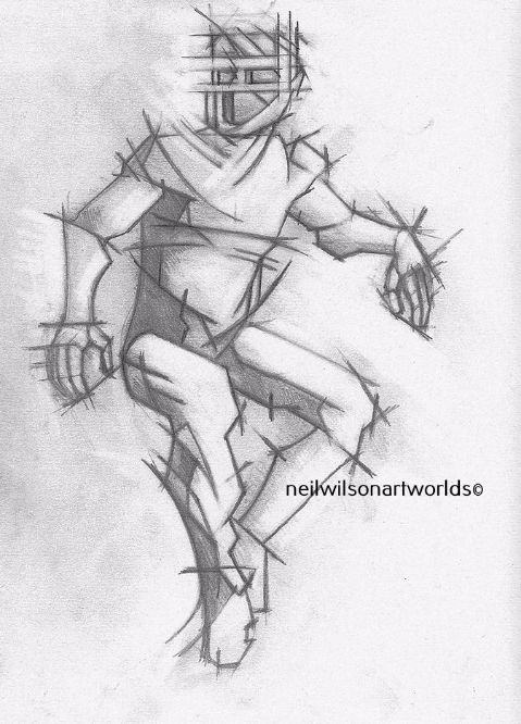 Male Figure with Mask 3/ Version 2, (After Watts), 2015. (Pencils).