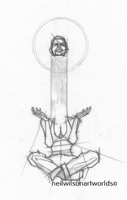 Figure Study 1, Version 2, 2016. (Pencils).  210mm x 297mm.