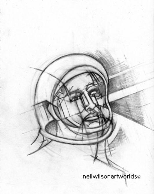Astronaut, 2016. (Pencils). 300mm x 300mm.