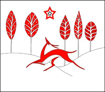 Deer In Red Landscape With Star