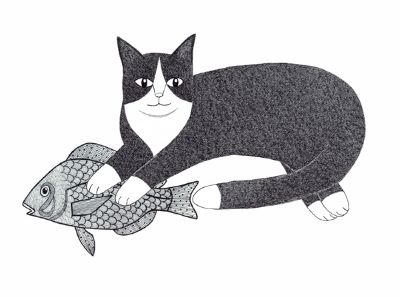 Mythic Cat With Fish Friend