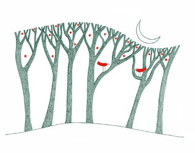 Red Birds In Trees