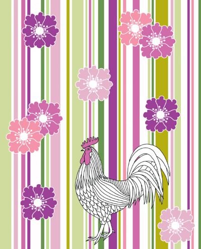 White Cockerel And Summer Flowers