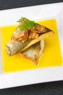 Fillet of Sea Bass with Pernod sauce and celeriac crisps.