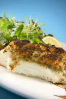 Cod with an Anchovy crust, served with dauphinois potatoes.