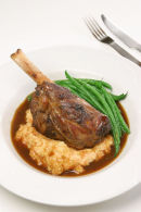 Braised Lamb Shanks with root vegetable mash.