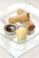 Rhubarb Spring Rolls with liquorice dipping sauce.