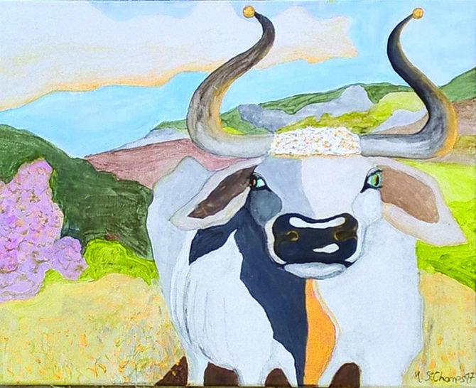 "Istrian white bull ""boskarin"", 3.rd prize at Extempore in Hrastovlje, 60x50 cm2, acrylics on canvas"