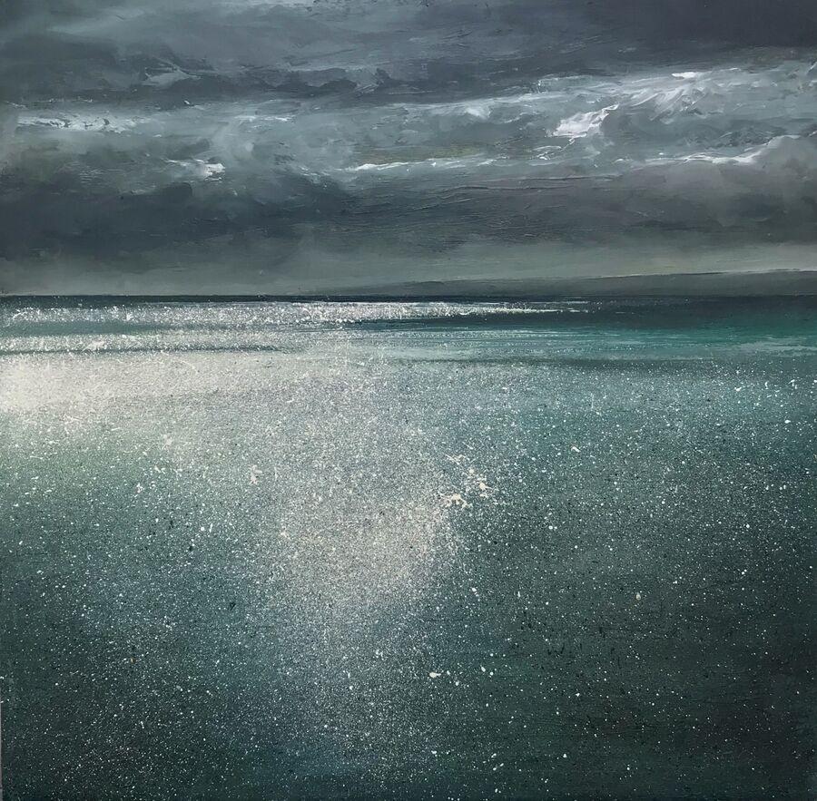 SOLD - Glittering sea under brooding skys