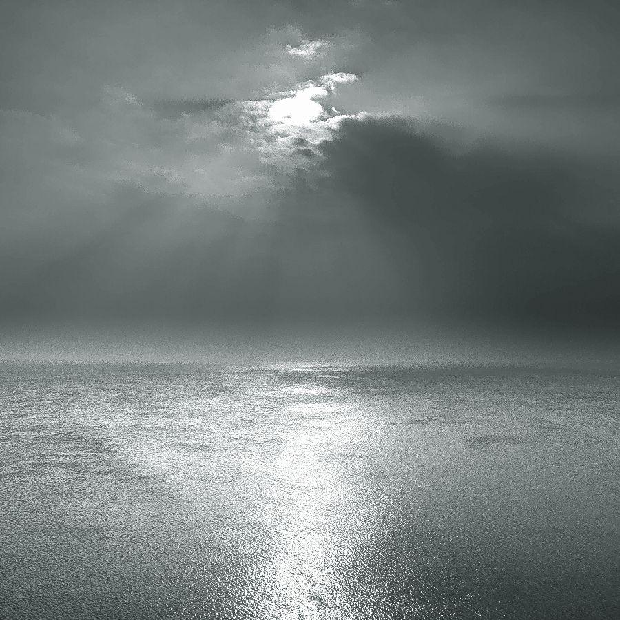 Calm silver seas