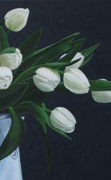 Tulips in old enamel jug