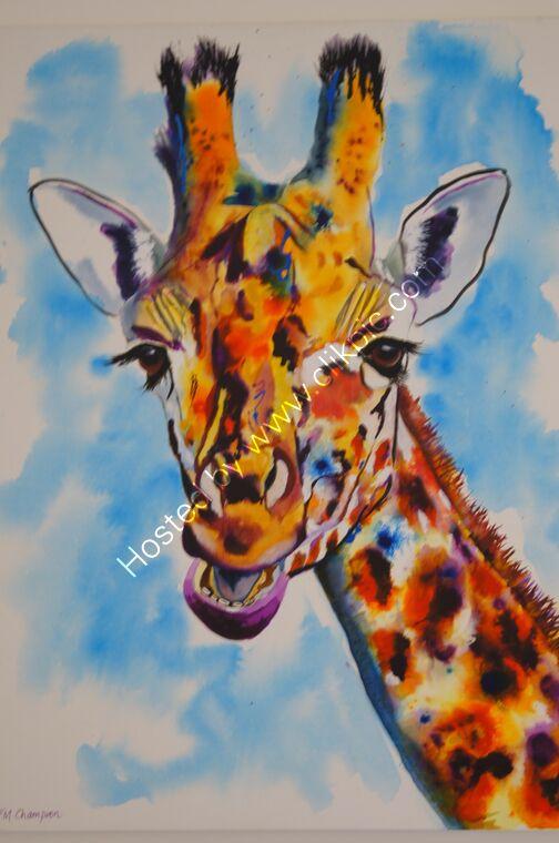 bright giraffe painting contemporary