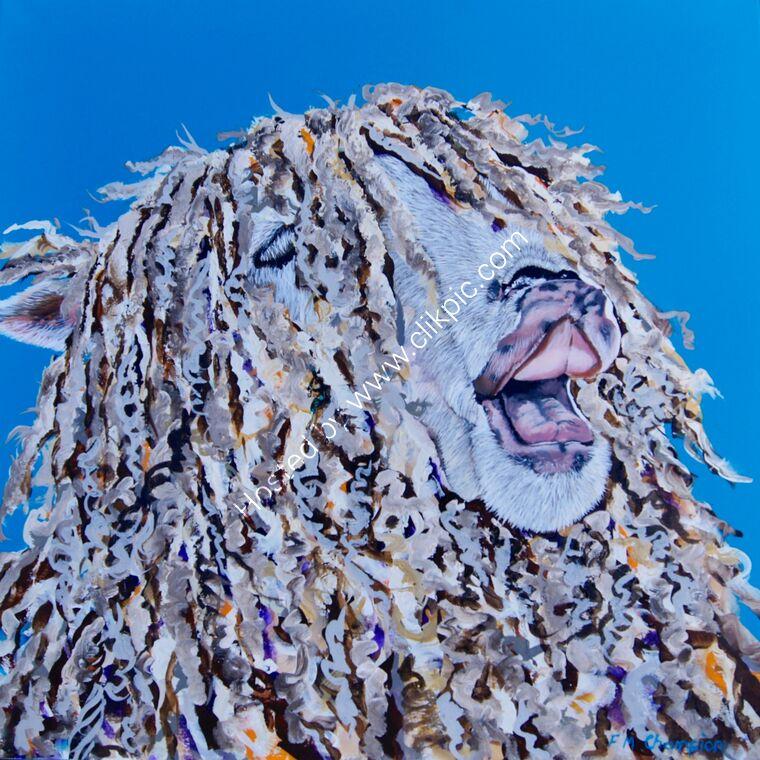 sheep portrait contemporary colourful