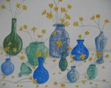Buttercups in Blue Vases