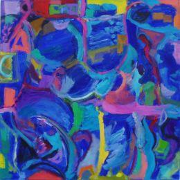 'Choppy Seas in a Box.'   Oil and acrylic on canvas, 80cm x 80cm