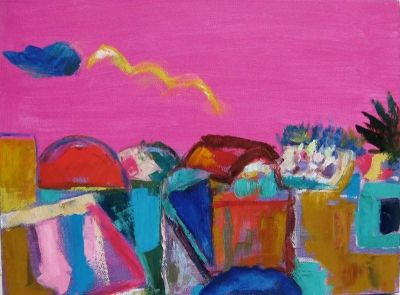 'Sunset from my flat, Nicosia.'<br> Oil and Acrylic on canvas, 2009<br> 40cms x 30cms