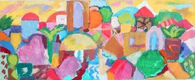 'Nicosia Evening, Churches and Domes.'<br> Oil on board, 2008<br> 74cm x 31cm