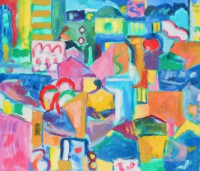 Nicosia Night, Billboards.'<br> Oil on canvas, 2008<br> 71cm x 61cm