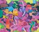 'Nicosia seen through Bougainvillea,' Oil on board, 201260cms x 45cms
