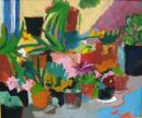 'Pots on my Balcony.' Oil on board